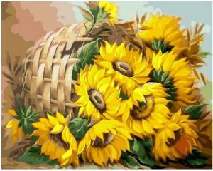 Фото Картины на холсте по номерам, Букеты, Цветы, Натюрморты KGX25788 Подсолнухи в корзине по номерам на холсте 40х50см