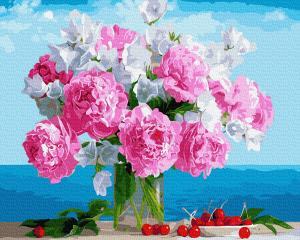 Фото Картины на холсте по номерам, Букеты, Цветы, Натюрморты KGX 34494 Букет пионов в вазе Картина по номерам  40х50см в коробке
