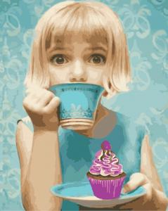 Фото Картины на холсте по номерам, Романтические картины. Люди AS 0910 Девочка с пирожным Картина по номерам на холсте Art Story 40x50см