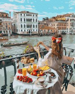 Фото Картины на холсте по номерам, Картины  в пакете (без коробки) 50х40см; 40х40см; 40х30см, Романтические картины. Люди. GX 36329 Доброе утро в Венеции Картина по номерам на холсте 40х50см, без коробки