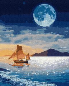 Фото Наборы для вышивания, Вышивка крестом с нанесенной схемой на конву, Пейзаж KGX 37359 Луна над лодкой Картина по номерам на холсте 40х50см