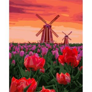 Фото Наборы для вышивания, Вышивка крестом с нанесенной схемой на конву, Пейзаж KH 2275 Тюльпаны на закате Картина по номерам на холсте 40х50см