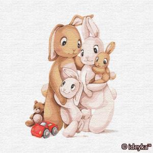Фото Картины на холсте по номерам, Картины-раскраски по номерам (детские) KHO 2361 Маленькая семья кроликов Картина по номерам на холсте 30х30см (без коробки)