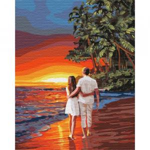 Фото Картины на холсте по номерам, Романтические картины. Люди KH 4741 Романтика на побережье Картина по номерам на холсте 40х50см