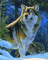 Фото  GZS 1029 Гордый волк Алмазная картина-раскраска (смешанная техника)