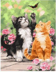 Фото Картины на холсте по номерам, Животные. Птицы. Рыбы... KGX25640 Весенние котята  по номерам на холсте 40х50см