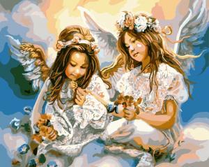 Фото Картины на холсте по номерам, Дети на картине GX 8963  Картина по номерам на холсте 40х50см без коробки, в пакете
