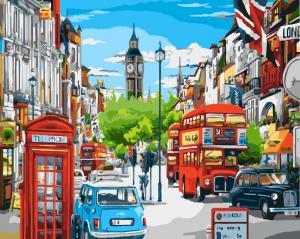 Фото Картины на холсте по номерам, Городской пейзаж KGX 8969 Лондонский полдень Картина по номерам на холсте 40х50см