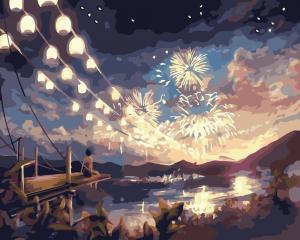 Фото Картины на холсте по номерам, Городской пейзаж KG 397 Ночная феерия  Роспись по номерам на холсте 40х50см