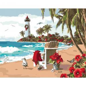 Фото Картины на холсте по номерам, Морской пейзаж KH 2825