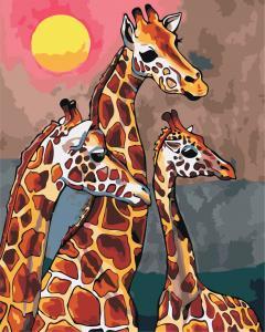 Фото Картины на холсте по номерам, Животные. Птицы. Рыбы... AS 0869 Семья жирафов по номерам на холсте Art Story 40x50см