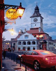 Фото Картины на холсте по номерам, Городской пейзаж KGX 30888 Вечер провинциального городка Картина по номерам на холсте 40х50см
