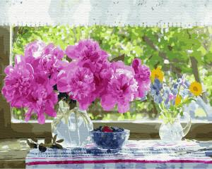 Фото Картины на холсте по номерам, Букеты, Цветы, Натюрморты KGX 33258 Натюрморт на подоконнике Картина по номерам на холсте 40х50см