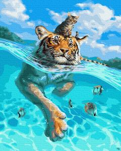 Фото Картины на холсте по номерам, Животные. Птицы. Рыбы... KGX 30145 Поплыли! Картина по номерам  40х50см в коробке