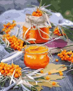 Фото Картины на холсте по номерам, Букеты, Цветы, Натюрморты KGX 37864 Облепиховый урожай Картина по номерам  40х50см в коробке