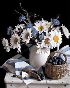 Фото Картины на холсте по номерам, Букеты, Цветы, Натюрморты AS 0837 Натюрморт с ромашками по номерам на холсте Art Story 40x50см