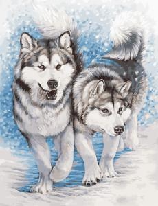 Фото Картины на холсте по номерам, Картины по номерам 50х65см AS 0956 Северные собаки Картина по номерам на холсте ART STORY 50x65см