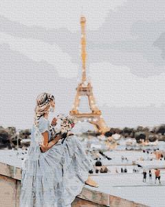 Фото Картины на холсте по номерам, Романтические картины. Люди KATG 00019 Девушка в Париже Картина по номерам на холсте 40х50см