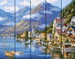 Фото  GXT 6936 Живописная Австрия Картина по номерам на дереве 50х40 см