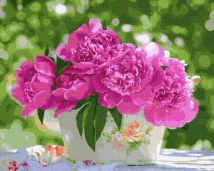 Фото Картины на холсте по номерам, Букеты, Цветы, Натюрморты KGX 33024 Летний букет в тени Картина по номерам  40х50см