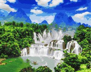 Фото Наборы для вышивания, Вышивка крестом с нанесенной схемой на конву, Пейзаж KGX27324 Водопад Детьян по номерам на холсте 40х50см