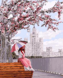 Фото Картины на холсте по номерам, Городской пейзаж KGX 27956 Отдых на аллее сакур Роспись по номерам на холсте в коробке 40х50см
