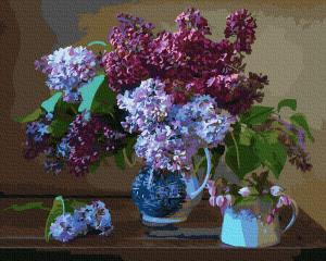 Фото Картины на холсте по номерам, Букеты, Цветы, Натюрморты KGX 33045 Сирень на столе Картина по номерам на холсте 40х50см