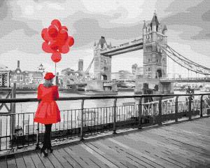 Фото Картины на холсте по номерам, Романтические картины. Люди KGX 36506 Леди в Лондоне Картина по номерам  40х50см в коробке