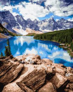 Фото Наборы для вышивания, Вышивка крестом с нанесенной схемой на конву, Пейзаж KGX 37792 Горное озеро Картина по номерам  40х50см в коробке