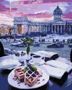 Фото Картины на холсте по номерам, Городской пейзаж KATG 00020 Бельгийские вафли Картина по номерам на холсте 40х50см
