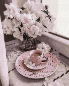 Фото Картины на холсте по номерам, Букеты, Цветы, Натюрморты KGX 38220 Кофе с цветами Картина по номерам на холсте 40х50см