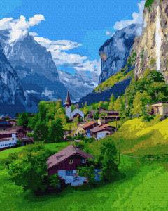 Фото Наборы для вышивания, Вышивка крестом с нанесенной схемой на конву, Пейзаж KGX 38231 Красоты Швейцарии Картина по номерам на холсте 40х50см