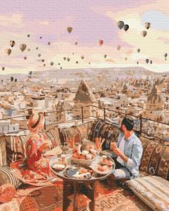 Фото Картины на холсте по номерам, Романтические картины. Люди KGX 38265 Свидание в Каппадокии Картина по номерам на холсте 40х50см