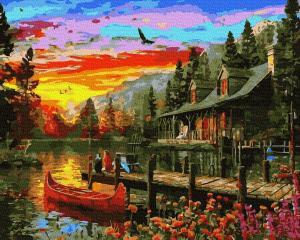 Фото Наборы для вышивания, Вышивка крестом с нанесенной схемой на конву, Пейзаж KGX 38269 Сказочное место Картина по номерам на холсте 40х50см