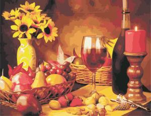 Фото Картины на холсте по номерам, Картины по номерам 50х65см AS 0965 Вино и фрукты Картина по номерам на холсте ART STORY 50x65см