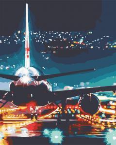 Фото Картины на холсте по номерам, Городской пейзаж AS 0587 Огни аэропорта Картина по номерам на холсте Art Story 40x50см