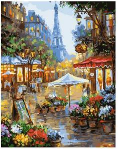 Фото Картины на холсте по номерам, Городской пейзаж KGX25578 Цветочная лавка у башни  по номерам на холсте 40х50см