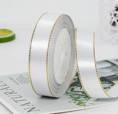 Фото Ленты, Лента атласная однотонная 2,5 см и с люрексом Атласная лента 2.5 см,  Белого  цвета  с  Золотым  люрексом .