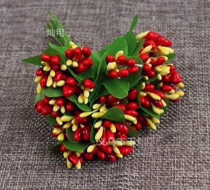 Фото Тычинки , добавки,ягодки Тычинки  на  веточке  глянцевые , Тёмно  - Красно - Жёлтые  с  листиками.  Упаковка  10  веточек