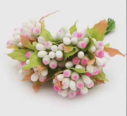 Фото Тычинки , добавки,ягодки Тычинки на веточке Комбинированые . Бело - Розовые с листиками.  Упаковка  10 веточек