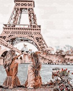 Фото Картины на холсте по номерам, Романтические картины. Люди KGX 30103 Подружки в Париже Роспись по номерам на холсте 40х50см