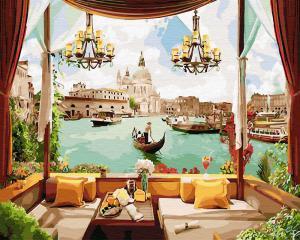 Фото Картины на холсте по номерам, Городской пейзаж KGX 30155 Кафе с видом на каналы Венециио Картина по номерам  40х50см в коробке