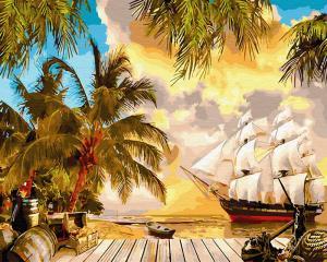 Фото Картины на холсте по номерам, Морской пейзаж KGX 30112 Карибский рай Картина по номерам  40х50см в коробке