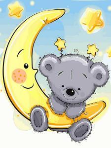 Фото Картины на холсте по номерам, Картины-раскраски по номерам (детские) VK 228 Мишка на луне Роспись по номерам на холсте 40x30см