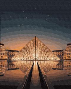 Фото Картины на холсте по номерам, Городской пейзаж KGX29706 Ночной Лувр по номерам на холсте 40х50см