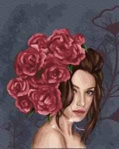 Фото Картины на холсте по номерам, Романтические картины. Люди KGX37456 Леди в розах Картина  по номерам на холсте 40х50см
