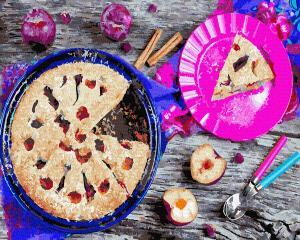 Фото Картины на холсте по номерам, Букеты, Цветы, Натюрморты KGX35075 Сливовый пирог Картина  по номерам на холсте 40х50см