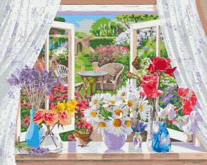Фото Картины на холсте по номерам, Букеты, Цветы, Натюрморты KGX35844 Цветы на подоконнике Картина  по номерам на холсте 40х50см