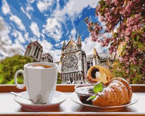 Фото Картины на холсте по номерам, Букеты, Цветы, Натюрморты KGX34639 Кофе с круассаном Картина  по номерам на холсте 40х50см