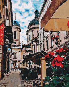 Фото Картины на холсте по номерам, Городской пейзаж KGX29486 Львовская улочка Картина  по номерам на холсте 40х50см